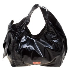 Valentino Black Patent Leather Bow Hobo