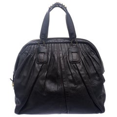 Roberto Cavalli Dark Brown Pleated Leather Dome Bag
