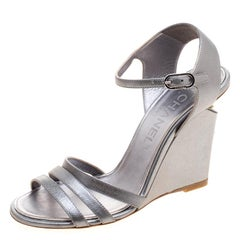 Chanel Metallic Silver Leather Ankle Strap Faux Pearl Embellished Wedge Sandals
