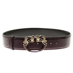 Gucci Metallic Purple Leather Tom Ford Dragon Belt 95cm