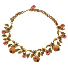 Dolce and Gabbana Fruit Floral Crystal Gold Tone Statement Necklace