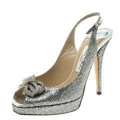 Jimmy Choo Silver Glitters Crystal Embellished Slingback Platform Sandals Size 3