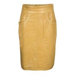 Moschino Mustard High Waist Leather Skirt M
