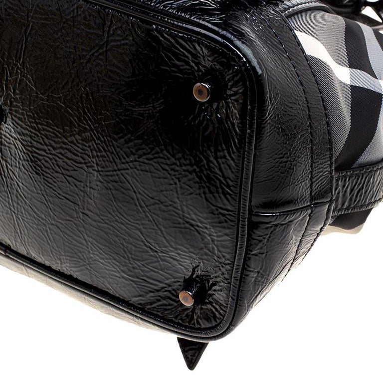 ac4d9bdff5 Burberry Black Beat Check Nylon and Patent Leather Small Lowry Tote For  Sale 1