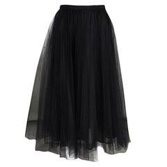Valentino Black Pleated Tulle Midi Skirt M