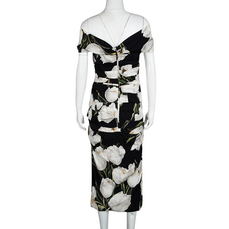 321aaad9 Dolce and Gabbana Black Tulip Print Ruched Silk Off Shoulder Midi Dress M  In Good Condition