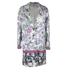 Etro Multicolor Floral Printed Textured Cotton Blend Overcoat M