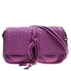 Bottega Veneta Purple Leather Front Pocket Crossbody Bag