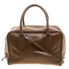 Prada Brown Soft Leather Double Satchel