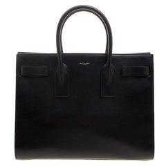 Saint Laurent Black Leather Large Classic Sac De Jour Tote