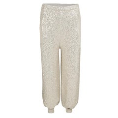 Oscar de la Renta Beige Sequined High Waist Jogger Pants M