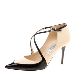 Jimmy Choo Two Tone Leather Madera Cross Strap Pointed Toe Pumps Size 38.5