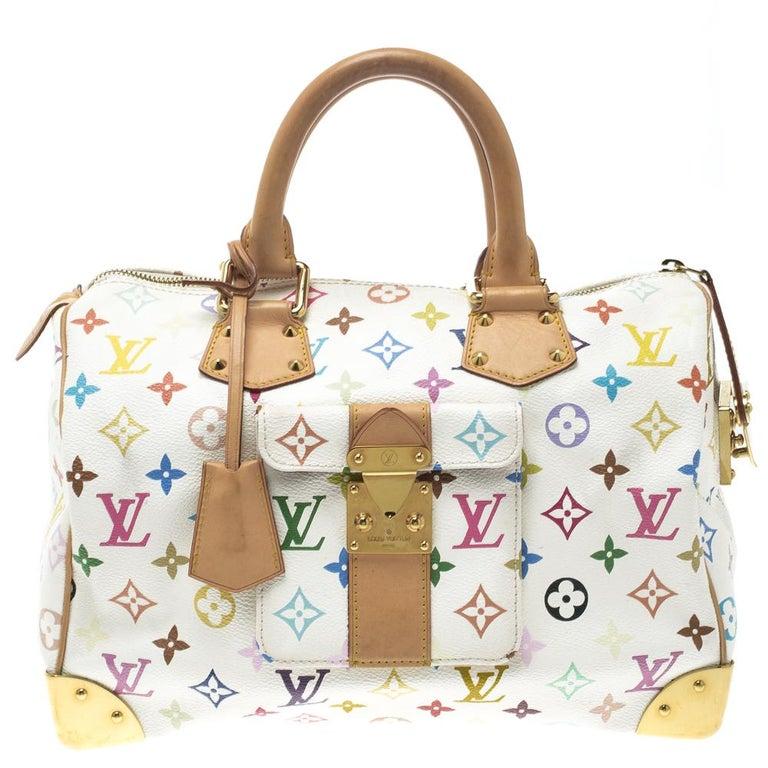4c52c5fa4bda Louis Vuitton White Multicolor Monogram Canvas Speedy 30 at 1stdibs