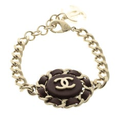 Chanel CC Brown Leather Gold Tone Chain Bracelet