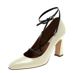 Valentino Beige Patent Leather Bianca Lace Up Pumps Size 40