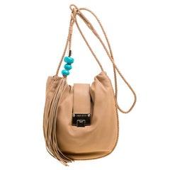 Jimmy Choo Brown Leather Roxana Crossbody Bag