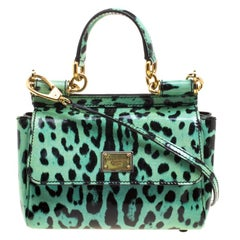 Dolce and Gabbana Green Leopard Print Patent Leather Small Miss Sicily Tote with