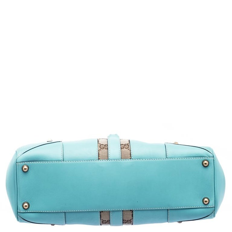 a4f0cdfc4 Gucci Turquoise GG Canvas and Leather Jackie O Hobo In Good Condition For  Sale In Dubai