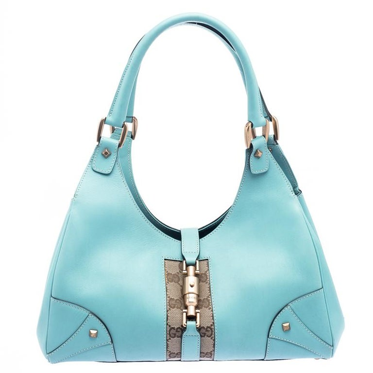 c8e7d98e6 Gucci Turquoise GG Canvas and Leather Jackie O Hobo at 1stdibs