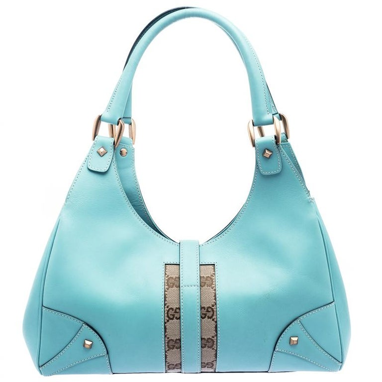 73a4af423 Gucci Turquoise GG Canvas and Leather Jackie O Hobo For Sale. A handbag  should not only be good-looking but also durable, just like this