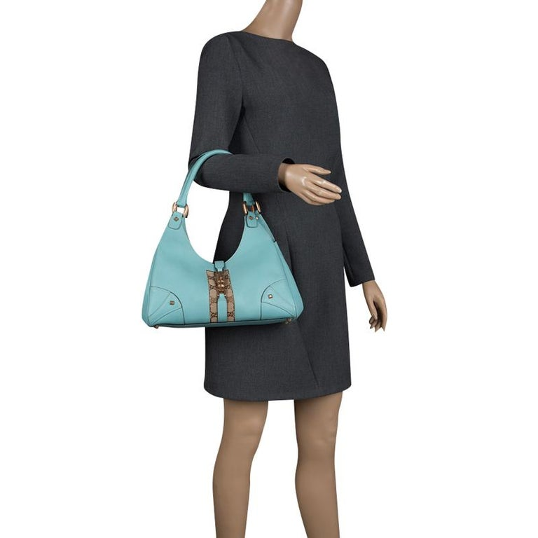 66d2a6e35 Blue Gucci Turquoise GG Canvas and Leather Jackie O Hobo For Sale