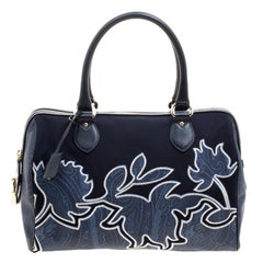 Etro Navy Blue Paisley Embroidered Coated Canvas Satchel