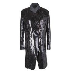 Dolce and Gabbana Black Sequin Paillette Embellished Velvet Trim Double Breasted