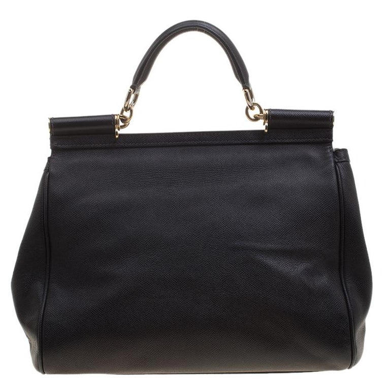 This Beautiful Black Colored Miss Sicily Bag From Dolce And Gabbana Has A Structured Design