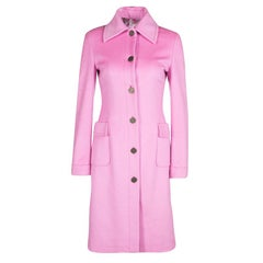 Valentino Pink Cashmere Floral Print Lined Long Coat S