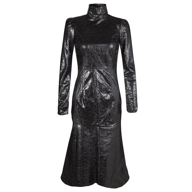 4180a29e0 Gucci Black Crackled Patent Leather Cut Out Back Detail Long Sleeve Dress S  For Sale