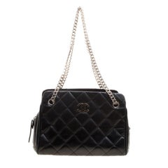 Chanel Black Quilted Leather Small CC Crown Tote