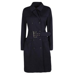 Max Mara Studio Navy Blue Jersey Belted Double Breasted Trench Coat M