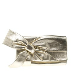 Valentino Metallic Gold Leather Bow Clutch