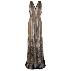 Alberta Ferretti Multicolor Printed Crepe Silk Sleeveless Belted Maxi Dress M