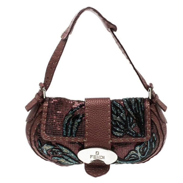 f9f68e7cb4b7 Fendi Bordeaux Leather Sequins and Beaded Selleria Baguette Bag For Sale