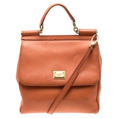 Dolce and Gabbana Orange Leather Medium Miss Sicily Top Handle Bag