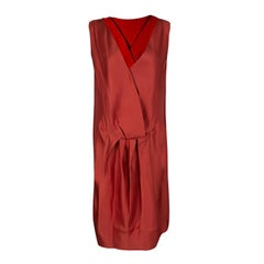 Lanvin Red Silk Draped Back Detail Sleeveless Dress M