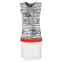 Monochrome Jacquard Knit Contrast Waist Detail Sleeveless Dre