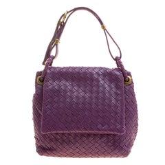 Bottega Veneta Purple Intrecciato Leather Flap Shoulder Bag