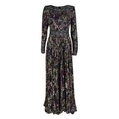 Elie Saab Floral Printed Silk Lace Insert Long Sleeve Maxi Dress M