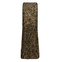 Ralph Lauren Gold Sequin and Feather Embellished Maxi Skirt M
