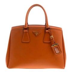 Prada Orange Saffiano Lux Leather Parabole Tote