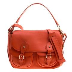 Ralph Lauren Red Orange Leather Hunting Messenger Bag