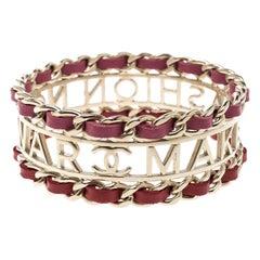 Chanel Make Fashion Not War Leather Gold Tone Wide Bangle Bracelet 20cm