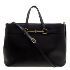 Gucci Black Leather Large Bright Bit Tote