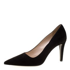Prada Black Suede Pointed Toe Pumps Size 38