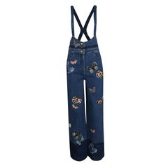 Valentino Indigo Butterfly Embroidered Denim Bib Overalls M