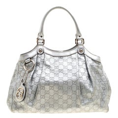 Gucci Silver Guccissima Leather Medium Sukey Tote