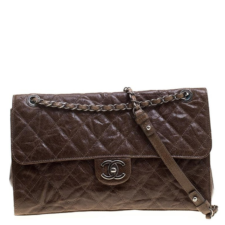 0848eaa773417f Chanel Brown Glazed Caviar Quilted Leather Large Crave Single Flap Bag For  Sale