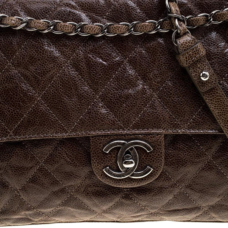 88aab688829c5f Women's Chanel Brown Glazed Caviar Quilted Leather Large Crave Single Flap  Bag For Sale